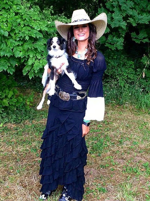 Zorro Skirt and Peasant Blouse with Lace Sleeves