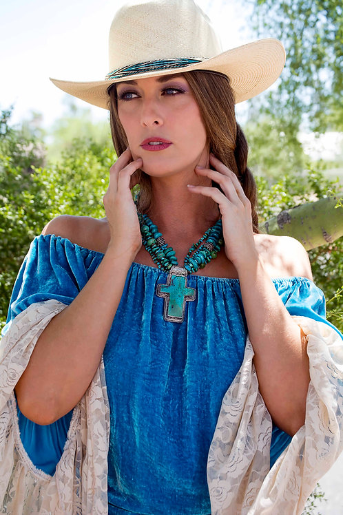 Gypsy Tunic in Silk Velvet with Lace Sleeves