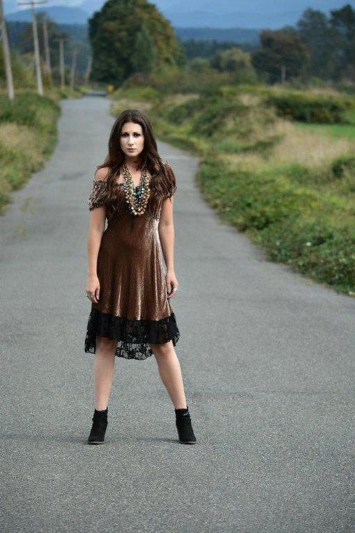 Saloon Dress in Silk Velvet & Lace