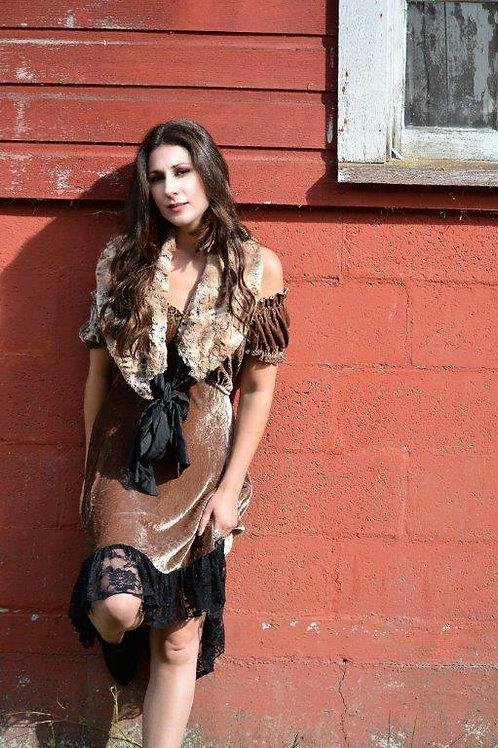 Velvet Saloon Dress & Faux Fur Cape