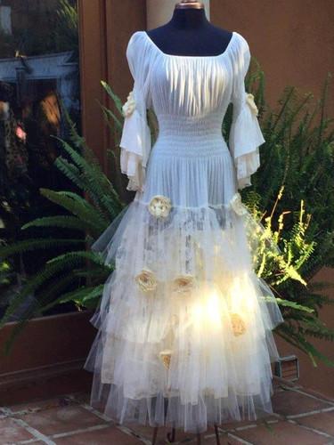 e10e50981e3 Cinderella Wedding Dress with Silk Flowers