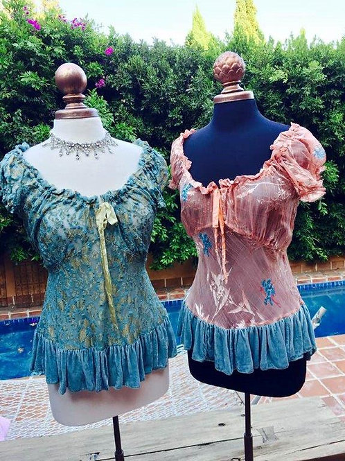 Saloon Tops with Velvet Ruffles