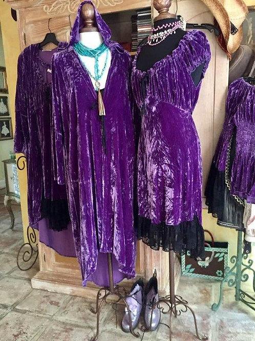 Purple Hoodie Coat & Saloon Dress Silk Velvet
