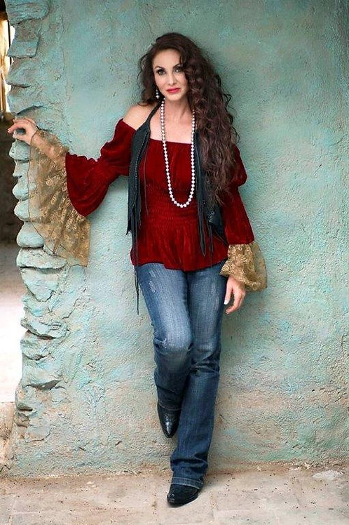 Velvet Peasant Top with Antique Gold Lace Sleeves