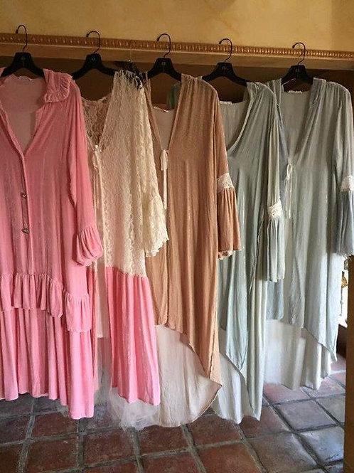 Duster Coats in Silk Velvet & Lace