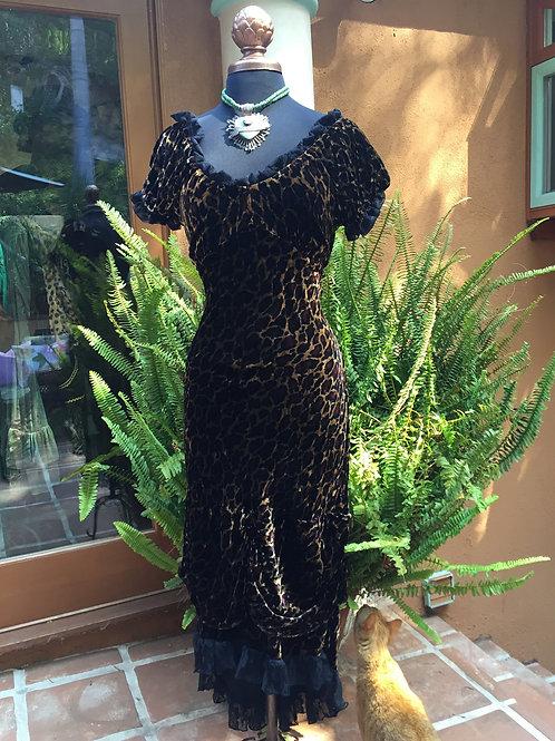 Bustier Dress in Leopard Velvet