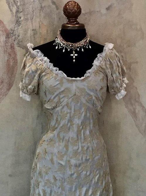 Bustier Dress in Silk Brocade/Lace