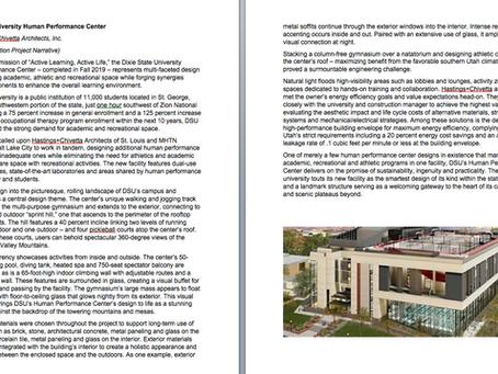 Dixie State University Design Award Narrative