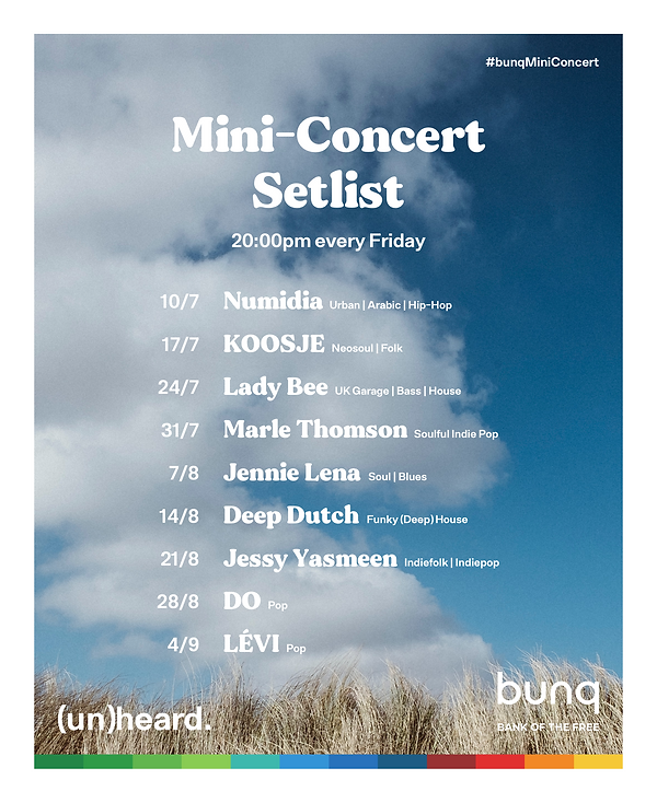 bunq Mini-Concert Setlist Vertical Borde