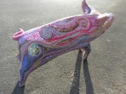 Pink mosaic pig
