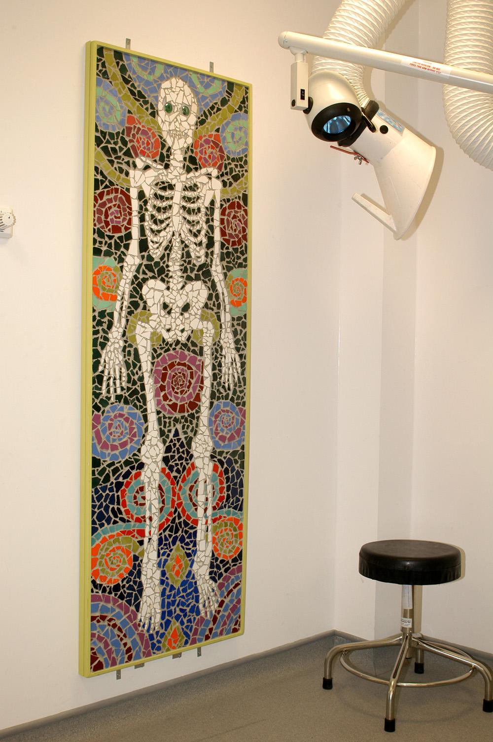 Skeleton mosaic, plaster room