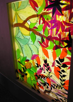 Fused glass leaves panel