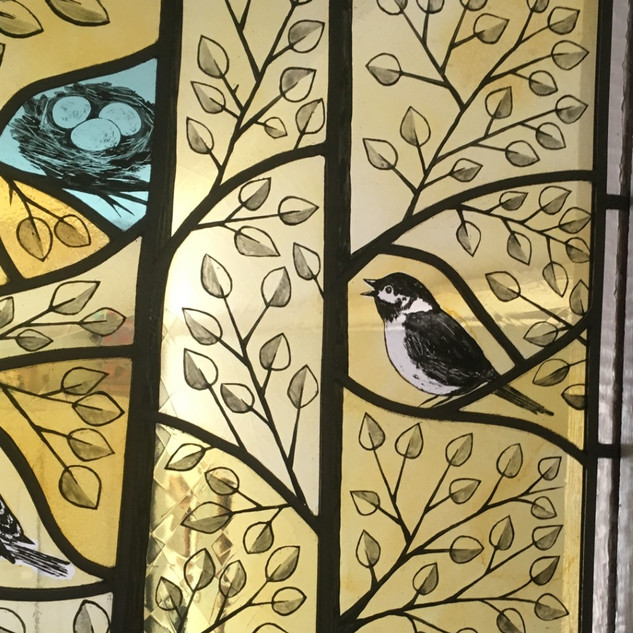 Silver stain and painted glass