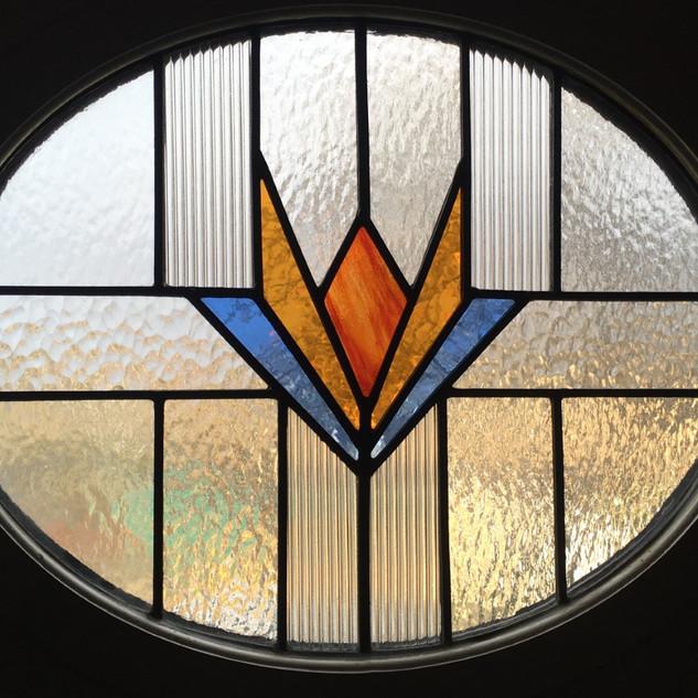 Oval door glass close up
