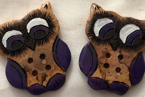 Boutons hiboux violet