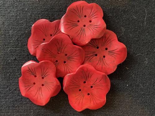 Boutons fleur rouge