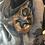 Thumbnail: Broche feutrée brune et bleue