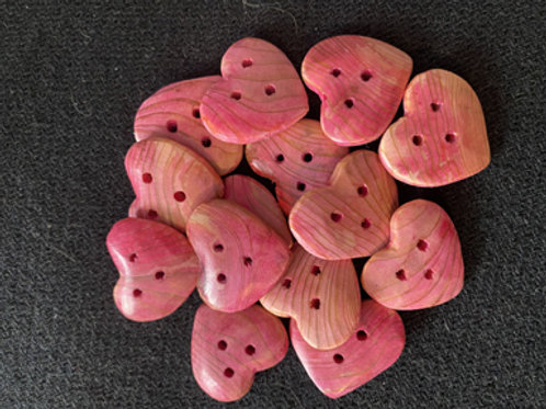 Boutons coeur rose