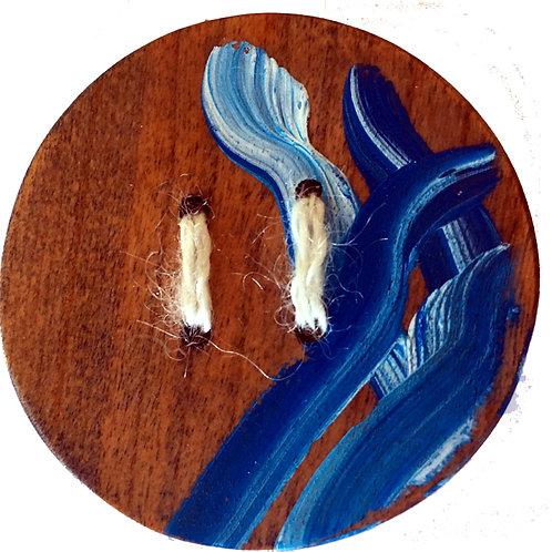 Bouton rond dessin bleu