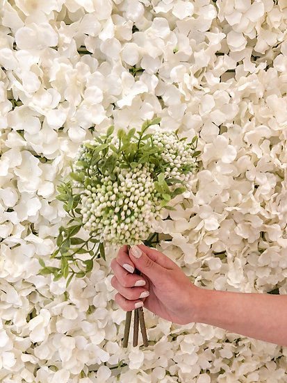 White & Green Foliage Artificial Flower Bouquet