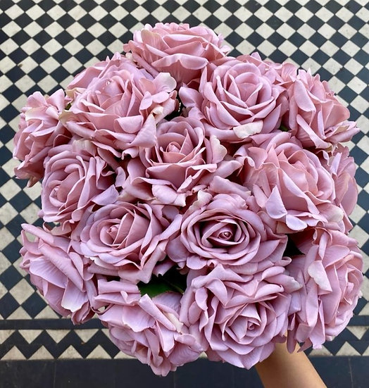 12 Vintage Pink Large Real Touch Roses