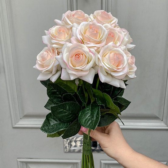 12 Petite White & Pink Blush Real Touch Roses