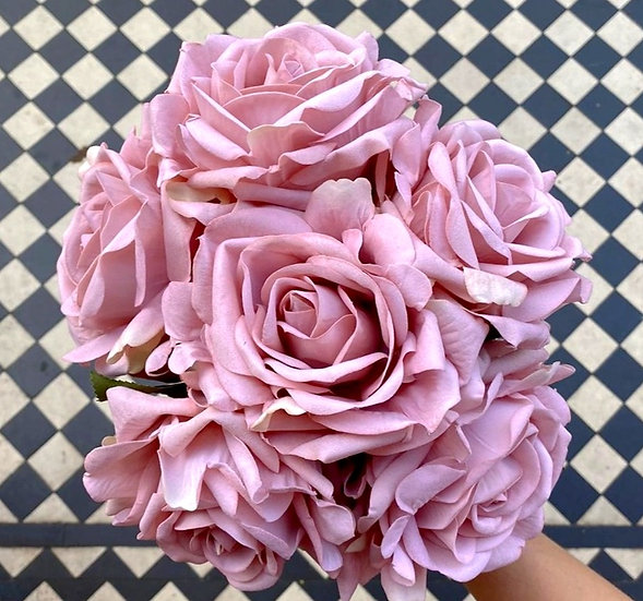 6 Vintage Pink Large Real Touch Roses