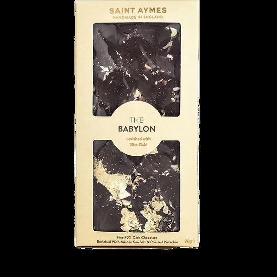The Babylon 70% Dark Chocolate Salted Pistachio & 23ct Gold Luxury Chocolate Bar