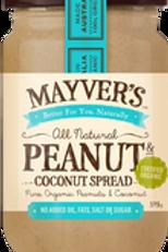 Mayver's Organic Peanut Coconut Spread 375g