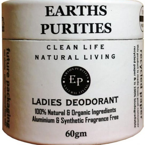 Earths Purities Ladies Natural Deodorant Pot with Applicator 60g