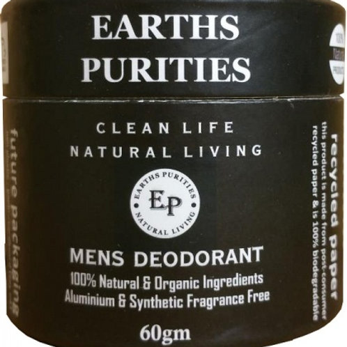 Earths Purities Mens Natural Deodorant Pot with Applicator 60g