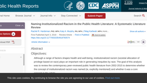 Naming Institutionalized Racism in the Public Health Literature: A Systematic Literature Review