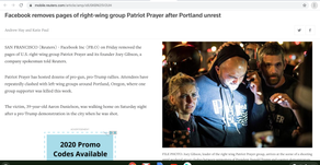 Facebook removes pages of right-wing group Patriot Prayer after Portland unrest