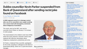 Dubbo councillor Kevin Parker suspended from Bank of Queensland after sending racist joke found on..