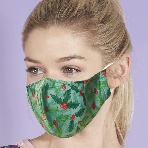 Green Holly And Berry Face Cover