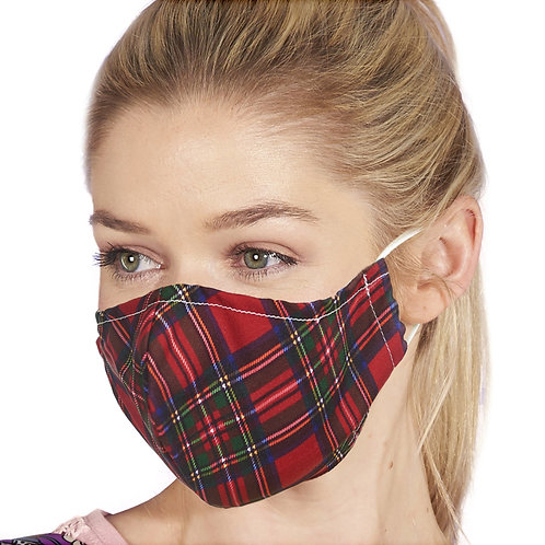 Red Tartan Face Cover