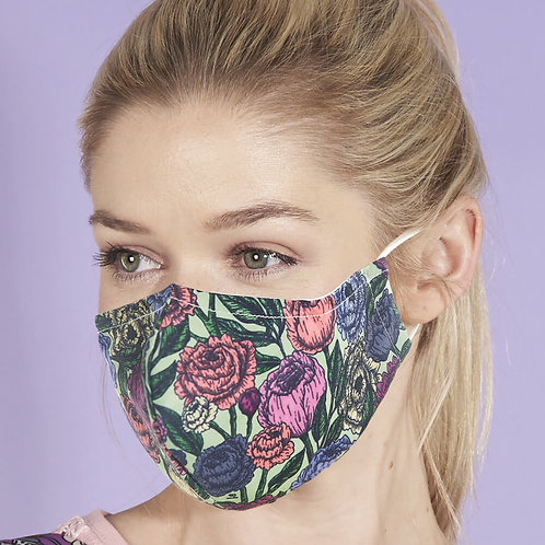 Green Peonies Face Cover