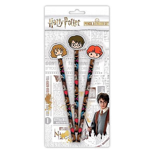Harry Potter Kawaii 3 Pencil and Eraser Set