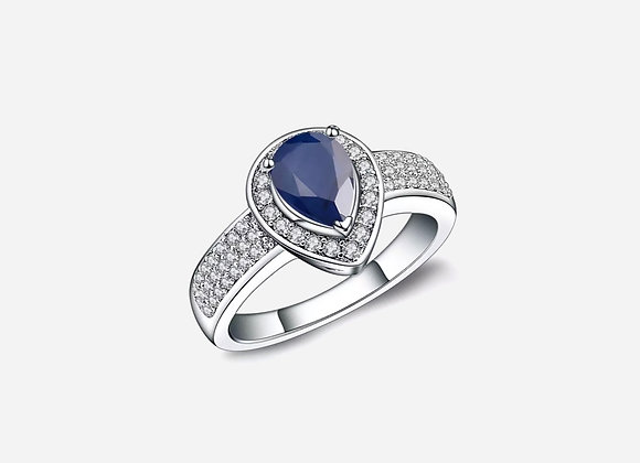 Halo Pear Sapphire Ring