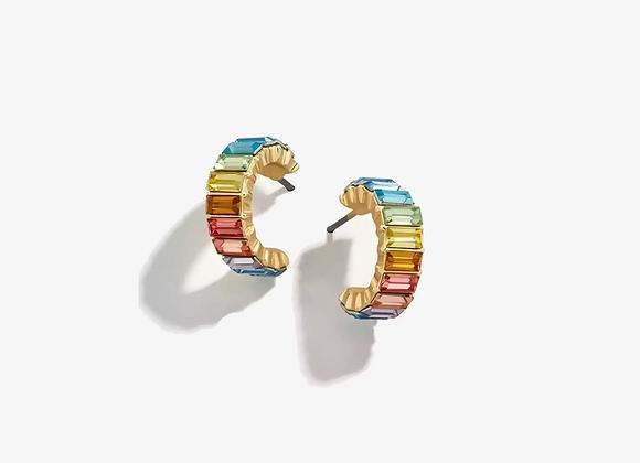 Gold Multi Color Huggie Earrings