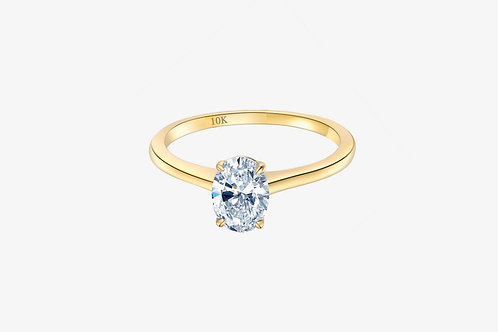 10k Yellow Gold Moissanite Oval Solitaire Ring