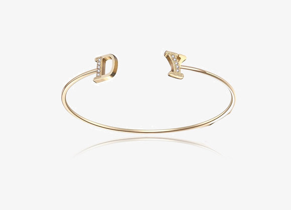 Gold Dual CZ Initial Bangle