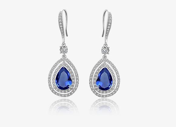 Sapphire Pear Halo Drop Earrings