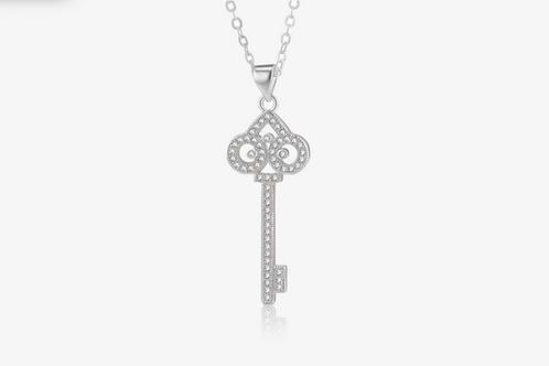 925 Sterling Silver CZ Key Necklace