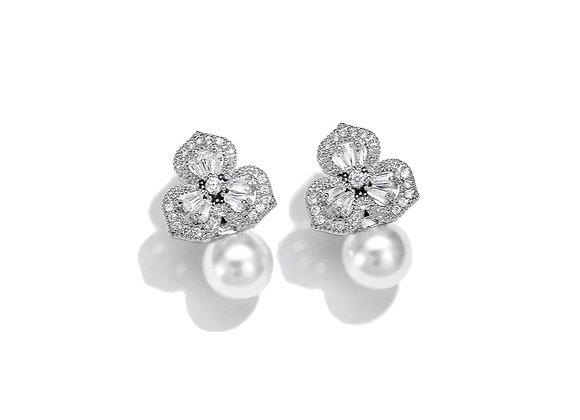 925 Sterling Silver CZ Floral Pearl Stud Earrings