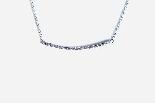 925 Sterling Silver Micro Pave Bar Necklace