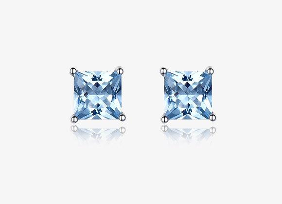 925 Sterling Silver Aquamarine Stud Earrings