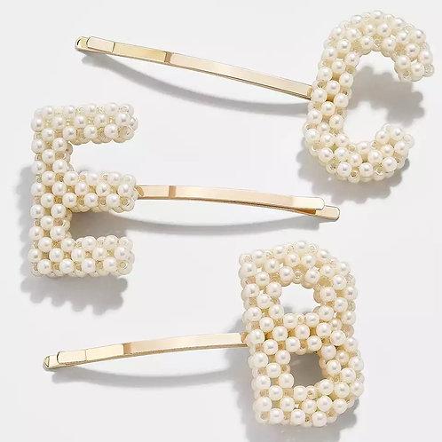 Retro Pearl Initial Hair Pin