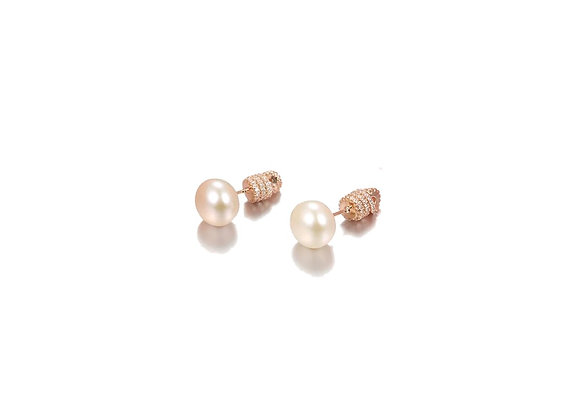Rose Gold CZ Bling Screw Back Pearl Stud Earrings