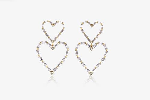 Emerald Baguette Double Heart Drop Earrings